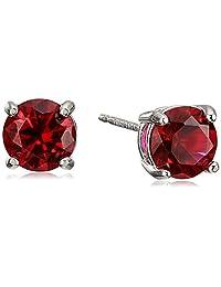 Sterling Silver Genuine and Created Gemstone 6mm Round Birthstone Stud Earrings