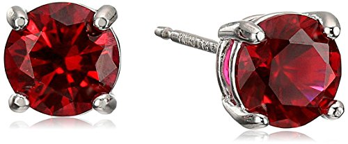 Sterling Silver Created Ruby Round July Birthstone Stud Earrings