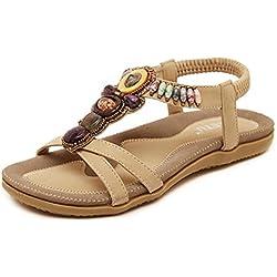 Anxinke Summer Shoes Beaded Bohemian Sandals for Women (Khaki, 9.5)