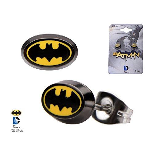 DC+Comics Products : DC Comics Enamel 316L Stainless Steel Batman Stud Earrings