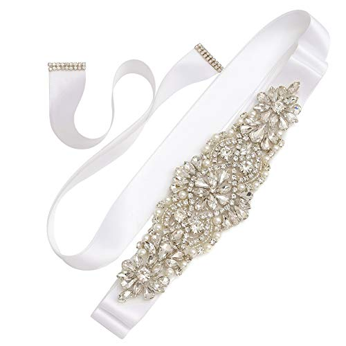 (Yanstar Silver Crystal Beads Rhinestone Wedding Bridal Belt Sash With White Ribbon For Wedding Dress)