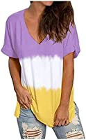 Women's Shirt V Neck Gradient Mix Color Purple White Yellow Casual Short Sleeve Tops Mom Life Shirt Cute Mom Shirt