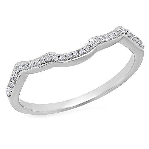0.10 Carat (ctw) 14K Gold Round Cut White Diamond Ladies Wedding Band Contour Guard Ring 1/10 CT