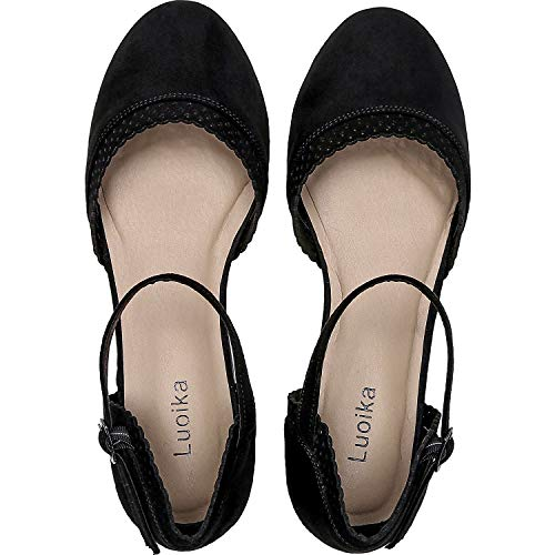(Luoika Women's Wide Width Flat Sandals - Flexible Buckle Strap Mary Jane Cozy Summer Shoes.(181141,Black,8))