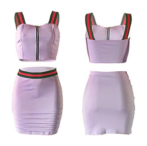 Mangas Camisa Camisola Falda Verano Falda y Top Morado Mujer Sin Conjunto Camiseta Tops xwTvXqx