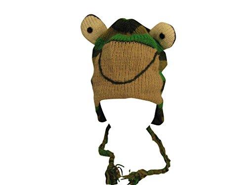 STRIPED FROG Mohawk Sport 100% Wool Animal Hat Fleece Lined Beanie Ski - Lined Striped Beanie