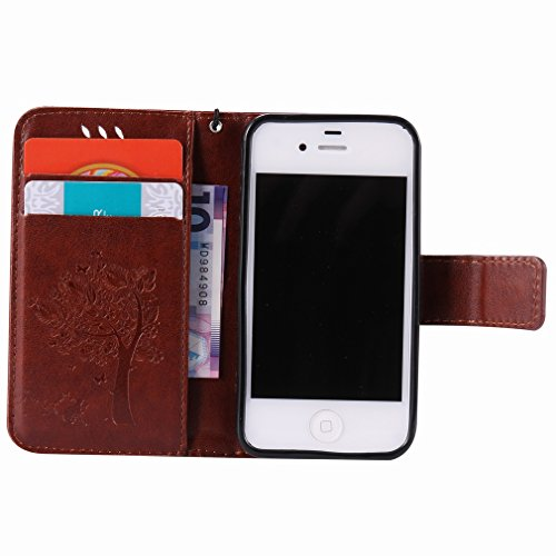 Yiizy Apple Iphone 4 4s Hülle, Baum-Muster Entwurf PU Ledertasche Klappe Beutel Tasche Leder Haut Schale Skin Schutzhülle Cover Case Stehen Kartenhalter Stil Bumper Schutz (Kaffee)
