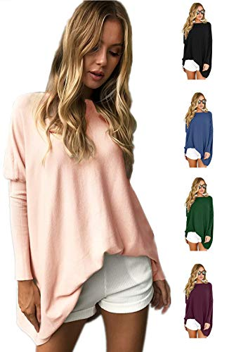 LETSRUNWILD Women's Round Neck Oversized Sweaters Long Batwing Sleeve T-Shirt Loose Tunic Tops ()