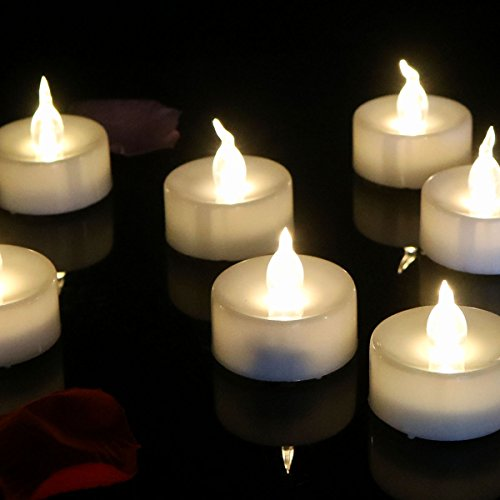Micandle 24pcs Warm White Flickering Candle Light with Timing Function(6 Hours On,18 Hours Off), LED Tea Light Flameless Candles with Timer,battery-operated LED Tealights for Christmas Halloween (Tealight Flickering Timer compare prices)