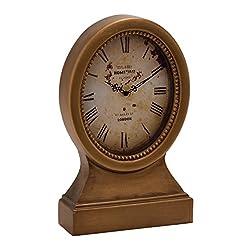 Plutus Brands Vintage Themed Wood Table Clock
