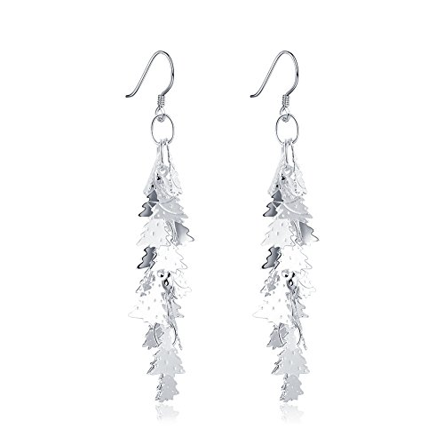 "Plated Cluster Finding (""Snow Queen"" Christmas Pine Tree Long Tassel Drop Earrings Silver-plated Dangle Earrings Christmas's Gift)"