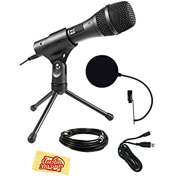 Audio-Technica AT2005USB Cardioid Dynamic USB/XLR Microphone Bundle with Pop Filter, XLR Cable, USB Cable, and Austin Bazaar Polishing Cloth