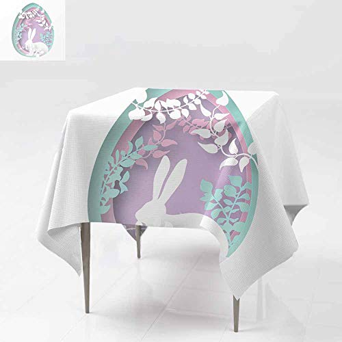 Tablecloth for Kids/Childrens,Easter paper art spring forest with grass branches lea,For Square and Round Tables 70x70 Inch ves tr ees covered with climbers and rabbit Easter egg shape Holiday origam