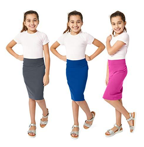 KIDPIK Girls Pencil Skirts (3 Pack) - Multi-Color - (Small(7/8), B. Pearl/Blue Sapphire/F. Fuchsia)