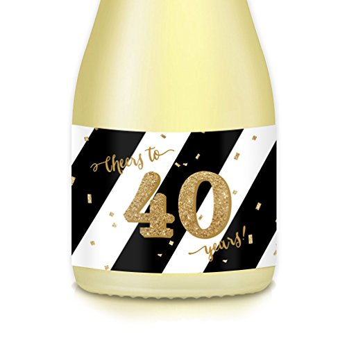 Woman's 40th Birthday, FORTIETH Wedding Anniversary Party Gift Idea, Set of 20 Mini Champagne Wine Bottle Labels, CHEERS to 40 Years! Celebrate Forty Years Wed or Birthday Wife, Sister, Aunt, Coworker -