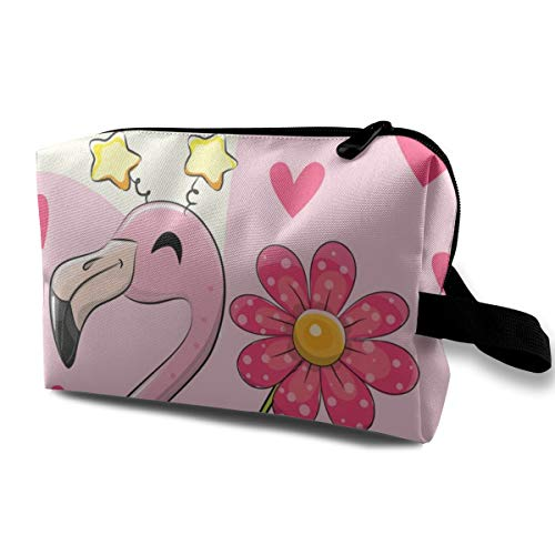 Yunshm Be Happy Greeting Card with Cartoon Flamingo Personalized Cosmetic Storage Bag Waterproof Woman for Travel Carry Bag
