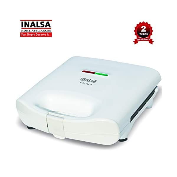 INALSA Easy Toast Sandwich Maker-750W with Non-Stick Coated Plate and Bigger body|Deep Filling, Triangle Sandwich,(White… 2021 June Shock Proof Heat Resistant Body: INALSA Easy Toast is having a premium looking shock proof white spray painted body equipped with power and ready to cook indicator lights. This toaster is easy to clean and maintain and it comes with the non-slide rubber feet Automatic Thermostat: INALSA Easy Toast is equipped with the Automatic Thermostat which helps for adequate temperature of uniform sandwich browning Quick Heating: INALSA Easy Toast is fitted with 750 watt heating element for quick heating and cooking which means you can get more number of sandwich in lesser time. Over Heat Safety Protection is added advantage of this toaster
