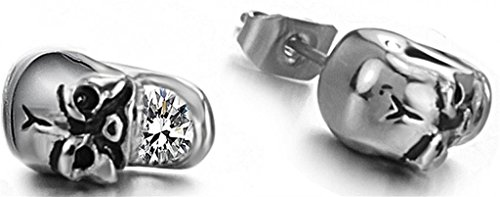 (JSDY Women's Girls Stainless Steel Skull CZ Ear Stud Earring Jewelry Silver)