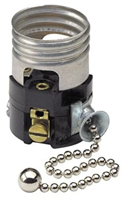 Leviton 19980-M Medium Base Interior Only, Shell Incandescent Lampholder, Pull Chain, Single Circuit, 0