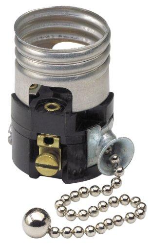 Leviton 19980-M Medium Base Interior Only, Shell Incandescent Lampholder, Pull Chain, Single (Medium Single Light)