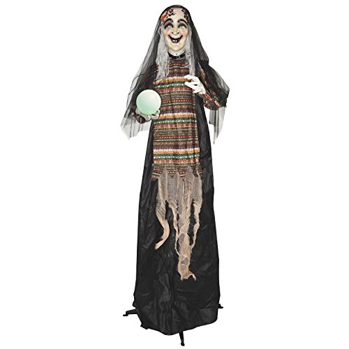One Holiday Way Life-Size Animated Fortune Telling Witch Halloween Decoration Party Prop with Lights and Sounds (Fortune Teller Decorations)