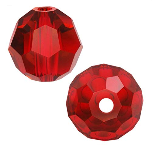 50pcs 8mm Adabele Austrian Round Crystal Beads Siam Red Compatible with 5000 Swarovski Crystals Preciosa SS2R-805