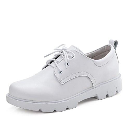Marée jurchen Chaussures A Vent Femme Flat Cuir Blancs Shoes soled britannique Occasionnelles thick Shoes Ressorts Little De 6XHxqanH