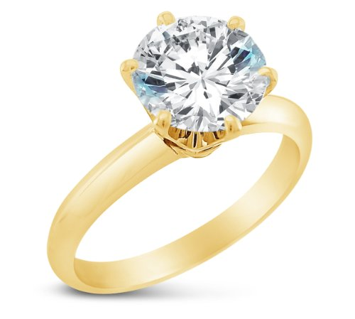 Size 7 - Solid 14k Yellow Gold Classic Traditional Round Brilliant Cut Solitaire Highest Quality CZ Cubic Zirconia Engagement Ring 1.0ct.