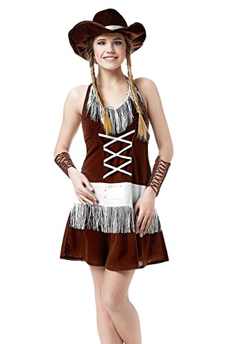 Adult Women Sexy Cowgirl Halloween Costume Wild West Rodeo Dress Up & Role Play (Standard)