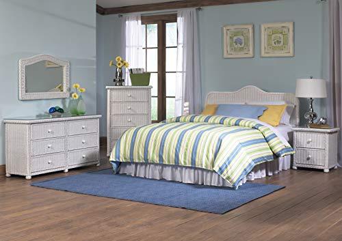 White Wicker Bedroom Set of 5 (Queen Headboard) Elana Collection
