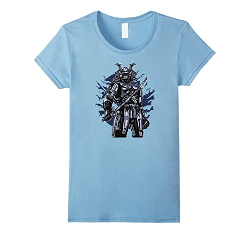 Womens Incredible Samurai Robot Skull Halloween t-shirt! XL Baby Blue