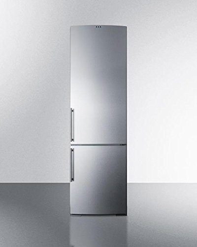 FFBF181SSIM 24 Bottom Freezer Refrigerator with 12.5 cu. ft. Capacity Ice Maker Frost-Free Operation Adjustable Glass Shelves Wine Shelf Crisper Freezer Drawers and Digital Thermostat in Stainless Steel by Summit
