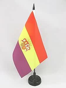 AZ FLAG Bandera de Mesa ESPAÑA Republicana con Escudo 21x14cm - BANDERINA de DESPACHO DE LA Republica ESPAÑOLA 14 x 21 cm: Amazon.es: Hogar