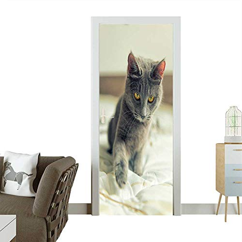 (Door Art Sticker Gray cat with Yellow Eyes Plays on Bed Room Decoration W31 x H79)