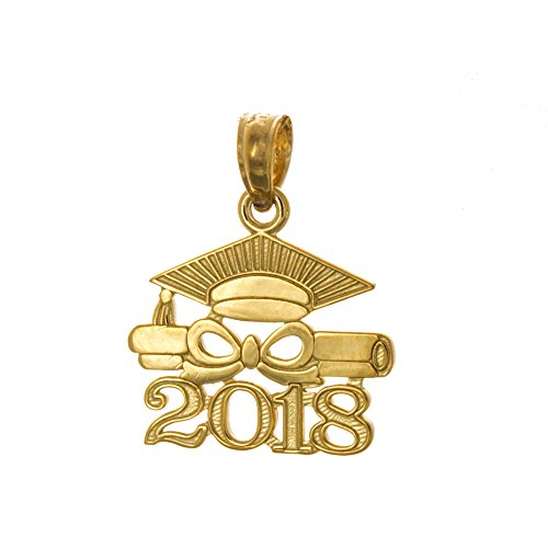 Graduation Cap 14k Gold Charm - 14k Yellow Gold Small Graduation Charm, Year 2018 Cap with Diploma