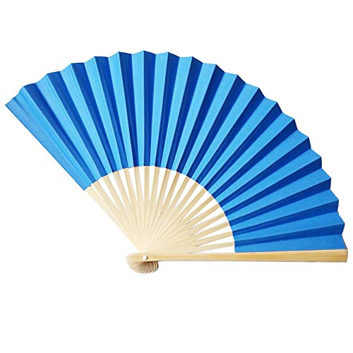 NEARTIME Bamboo Fan Chinese Style Hand Held Fan Bamboo Paper Folding Fan Party Wedding Decor (Free Size, Blue) for $<!--$0.98-->