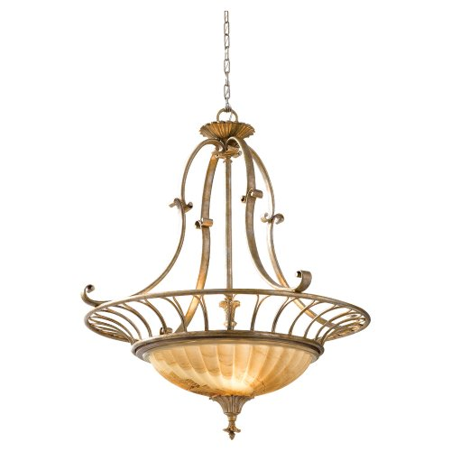 Murray Feiss F2542/3OSL Bancroft Oxidized Silver Leaf 3-Light Uplight Chandelier (Silver Leaf Bulb Oxidized)