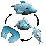 Yzakka Convertible Neck Pillow U Shaped Travel Pillow Stuffed Plush Toy Animal Dolphin
