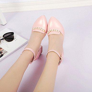 LvYuan Mujer Sandalias PU Primavera Verano Perla de Imitación Hebilla Tacón Robusto Blanco Negro Rosa 7'5 - 9'5 cms Black