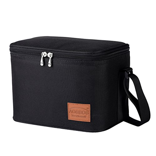 Aosbos Insulated Lunch Box Bag Cooler Reusable Tote Bag Women Men 7.5L Black - Classic Double Kit