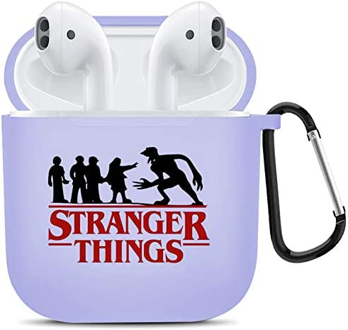 Stranger Things AirPods Case Soft TPU Protective Cover, Risk. Purple Skin, Charging Case Cover for Apple AirPods 1&2 with Keychain