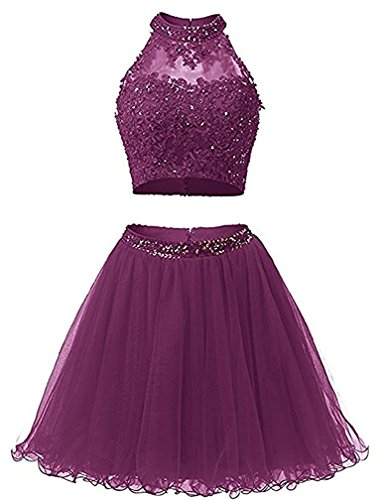 Grape Evening Prom Applique Piece Short Cdress Dresses Two Beads Gowns Bodice Homecoming Tulle w7qvZU