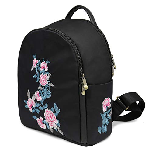 Backpack Rose for Traveling Black Mini Backpack Backpack for Black Pink Nylon Small Bookbag Women Cute Girls Embroidered 5XCvqwSS