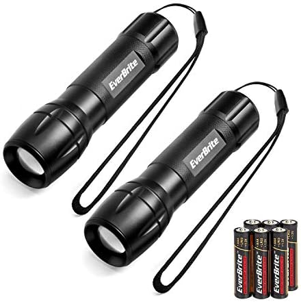 Zoomable Adjustable Focus Heavy-duty Aluminum Torch for Hurricane Supplies Camping 3 Light Modes Includes 3C Alkaline Batteries 900 Lumen CREE XP-G LED EverBrite Ultra Bright Tactical Flashlight