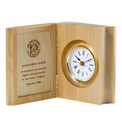 Piano Wood Desk Clock (Maple Book Wood Clock, includes Personalization)