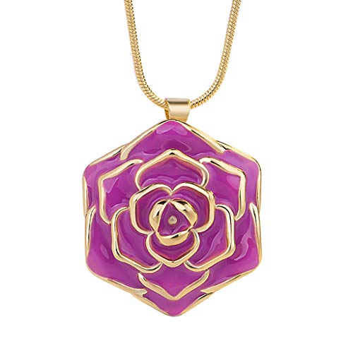 Barhalk Minimalist Rose Necklace 24k Gold-Plated Clavicle Chain Charm Pendant Women's Fashion Accessories for Birthday Party Gifts Easter Christmas Celebration ()