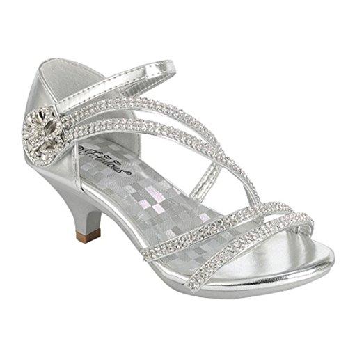 Angel-37K Little Girl Mid Heel Rhinestone Pretty Sandal Dress Shoes (3 M US Little Kid, Silver - 48) (Silver Girls Dress Shoes Size 3)