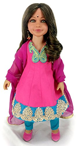 Diya 18'' Slim Indian Doll with Green Eyes in Gift Box by CARPATINA