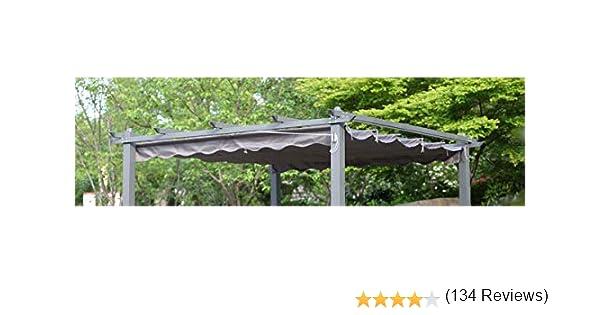 Angel Living Recambio de Top Roof de Poliéster para 3X3m Pérgola, Techo Retráctil a Prueba de Humedad, la Medida de la Lona es 258 x 258 cm (sin el Marco Metal, Gris):