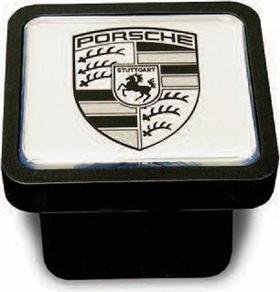 Porsche Genuine OEM Cayenne Trailer Hitch Cover -Black on Silver by Porsche